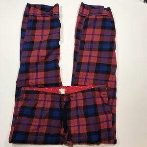 J Crew Plaid Cotton Pajama Pants, Small, Red